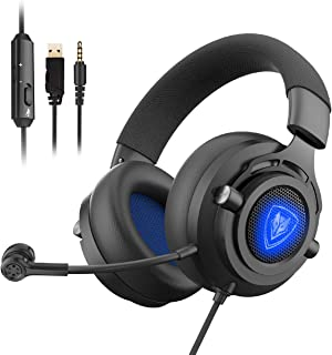 NUBWO N9PRO Gaming Headset, for PS4, Xbox One, Nintendo Switch, Mac, PC, Computer, Smartphone, Windows, LED Light, with Detachable Microphone, with Surround Sound Quality 3.5mm Volume Control, Black