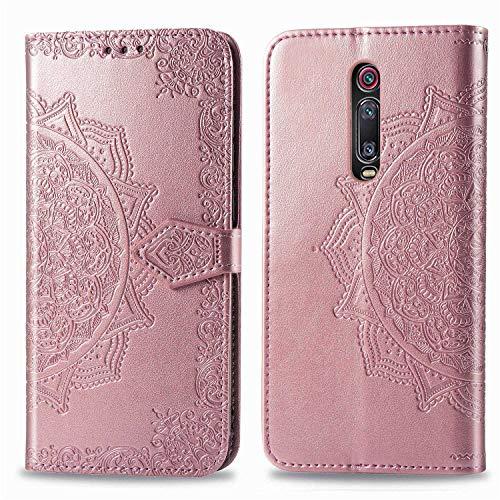 Bear Village Hülle für Xiaomi MI 9T / MI 9T Pro, PU Lederhülle Handyhülle für Xiaomi MI 9T / MI 9T Pro, Brieftasche Kratzfestes Magnet Handytasche mit Kartenfach, Roségold