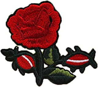 Bullidea Clothes Patches Iron-on Sew-on Rose Flower Embroidered Patches Applique Dress Jacket Shirt Jeans Hat Bag DIY Decor
