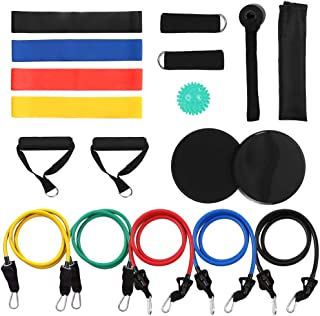 18Pcs Resistance Bands Set Workout Fintess Exercise Rehab Bands Loop Bands Tube Bands Door Anchor Ankle Straps Cushioned H...