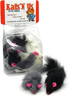 Kats'N Us Long Hair Rabbit Fur Mouse - 5 Pak