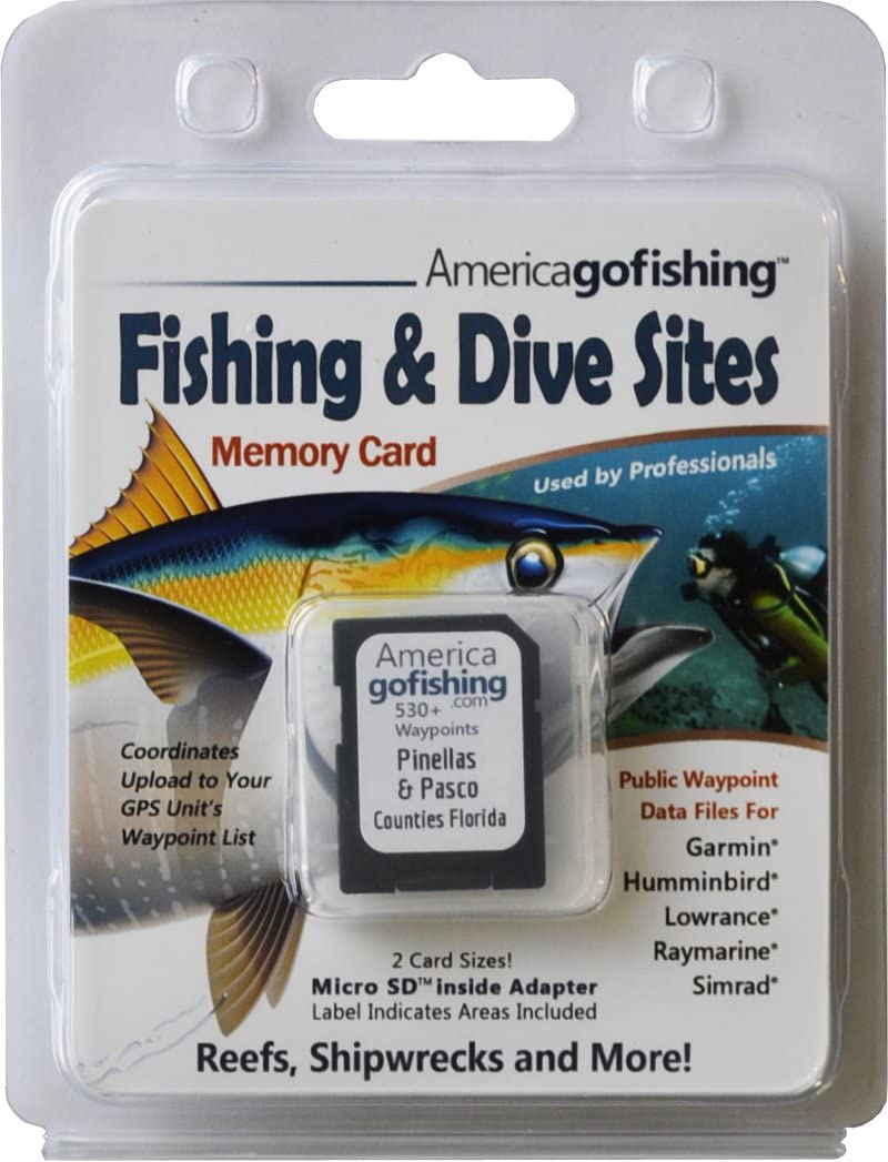 America Go Fishing - Fishing and Dive Sites Memory Card - Pinellas and Pasco Counties Florida