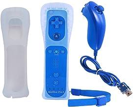 BIGFOX 2 en 1 Mando Plus con Motion Plus y Nunchunk para Nintendo Wii / Wii U (Opcional a Seis Colores) y Funda de Silicona - Azul Marino