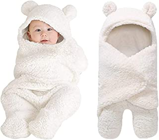 Rainlin Baby Swaddle Blankets Unisex Newborn Baby Wrap with Plush Hooded Bear Baby Shower Gifts for Boys Girls(0-6 Month)
