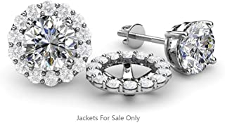 Rolex Jewells 0.89 ct tw Round Cut White Sapphire in White Gold Finish Halo Jacket for Stud Earrings