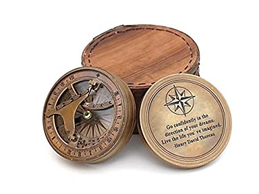 Roorkee Vintage Brass Compass with Leather Case/Henry David Thoreau Directional Magnetic Compass for Navigation/Sundial Compass for Camping, Hiking, Touring