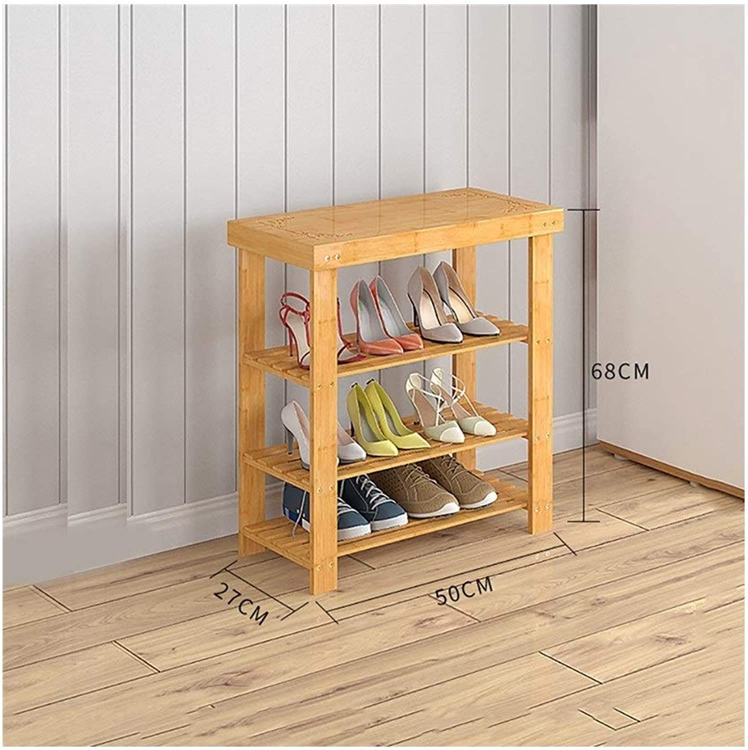 shoes Rack Organizer Storage, Multi-Layer Simple Solid Wood shoes, shoes Bench, Bamboo Storage Rack, dust-Proof shoes Rack. (Size   50  27  68CM)