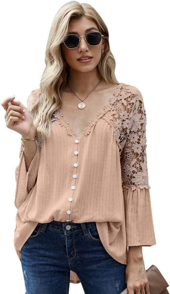 NC Womens Casual Solid V Neck Lace Crochet Button Down Bell Sleeve Shirts Loose Blouses