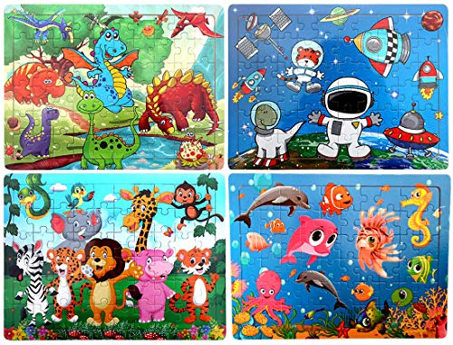Puzzles for Kids Age 3-8 [60 Piece] Wooden Animal Jigsaw Puzzles Toddler Preschool Educational Learning Toys Boys & Girls Gifts with 4 Theme - Dinosaur, Safari, Benthos and Space