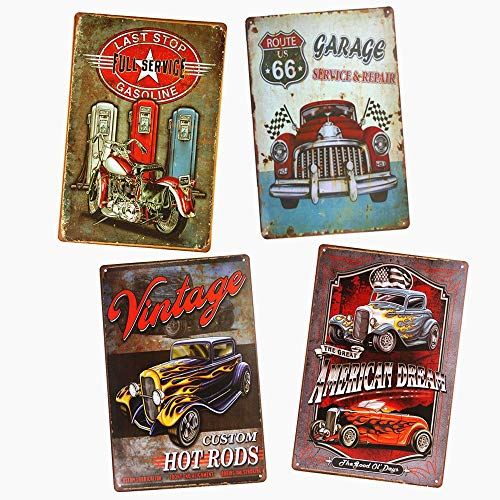 Yunuo 4 Pcs Garage Vintage Full Service Rustic Home Decor Signs Vintage Metal Tin Signs (E)