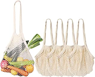 Reusable Produce Bags, 4 Pack Extra Long Handle Mesh Cotton Grocery Bags, Eco-Friendly Washable Shopping Bags for Grocery, Storage, Fruit, Vegetable and Farmers Market, Zero Waste
