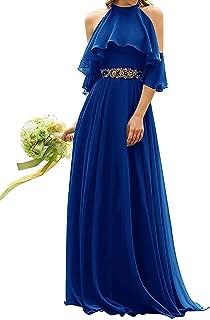 Jonlyc Women's A-Line Halter Beaded Chiffon Long Bridesmaid Evening Dresses
