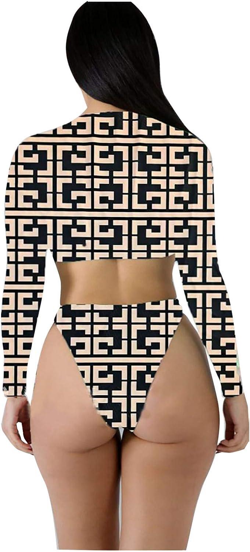 Womens Long Sleeve Zipper Swim Shirt Rash Guard Crop Top Tankinis Set High Cut Bottom Bathing Print Swimsuit Swimwear