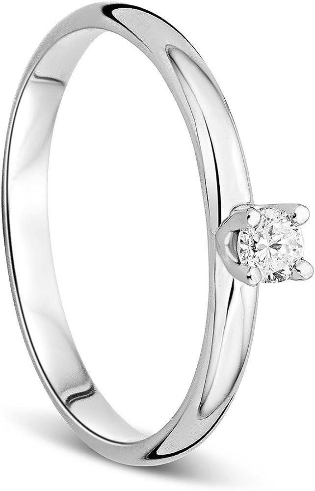 Orovi anello donna in oro bianco  9 kt / 375(1.15 gr)con diamante taglio brillante ct 0.10 OR8947R52