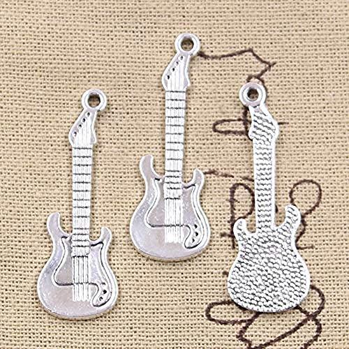 BEISUOSIBYW Co.,Ltd Collar Musical Guitarra eléctrica 41x14mm Colgante de Color Plateado Antiguo Hacer hallazgos Joyería tibetana Hecha a Mano