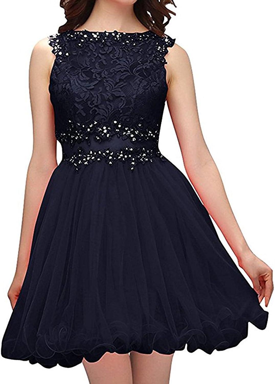 Ellenhouse Women's Beaded Short Lace Applique Cocktail Gown Homecoming Dresses