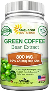 Natural Green Coffee Bean Extract - 180 Capsules - Max Strength GCA Antioxidant Cleanse for Pure Weight Loss, 800mg w/ 50%...
