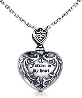 925 Sterling Silver Urn Necklace for Ashes - Forever in My Heart Cremation Locket Pendant Memorial Keepsake Jewelry Bereavement Gift for Loss of a Loved One