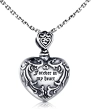 MANBU 925 Sterling Silver Urn Necklace for Ashes - Forever in My Heart Cremation Locket Pendant Memorial Keepsake Jewelry Bereavement Gift for Loss of a Loved One