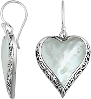 Bali Designs Sterling Silver Heart Shape Earring with Mother of Pearl AE-6196-MOP
