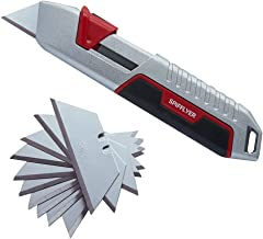 Spifflyer Self Retracting Utility Knife Retractable Box Cutters with 10 Pack SK5 Replacement Blades, Full Metal Shell, Light Weight