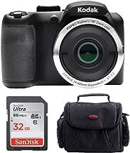 Kodak PIXPRO AZ252 Astro Zoom 16MP Digital Camera (Black) with 32GB SD Card and Case Bundle (3 Items)