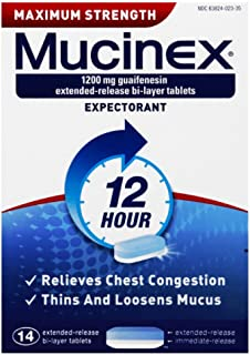 Chest Congestion, Mucinex Maximum Strength 12 Hour Extended Release Tablets, 14ct, 1200 mg Guaifenesin with extended relief of  chest congestion caused by excess mucus, thins and loosens mucus