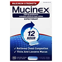 Chest Congestion, Mucinex Maximum Strength 12 Hour Extended Release Tablets, 14ct, 1200 mg Guaifenes