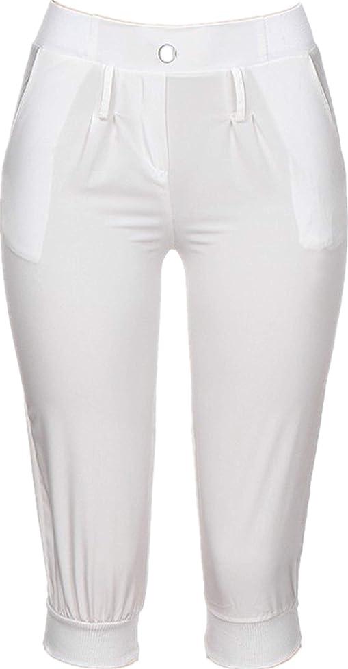 TIFENNY Cropped Trousers for Women Elastic Waist Check Pants Baggy Wide Leg Plus Size Yoga Capris Sweatpants