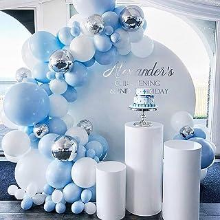 طقم اكليل البالونات لتزيين حفلات أعياد الميلاد مكون من 141 قطعة بلون أزرق