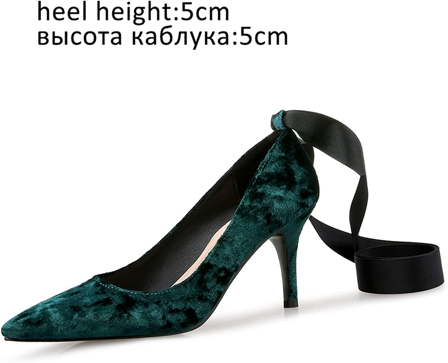DATAIYANG Women shoes High Heels Pointed Pumps Party Spring Velvet Lace-up Office Plus Size
