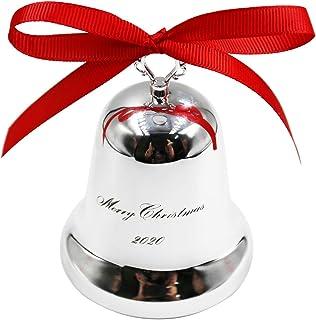 PinCute Annual Christmas Bells Ornaments 2020, Silver Bell Ornaments for Christmas Trees or Walls, Decorative Bells, Ornam...