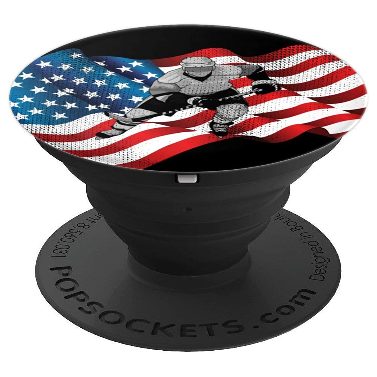 Ice Hockey Player USA American Flag Birthday Christmas Gift - PopSockets Grip and Stand for Phones and Tablets