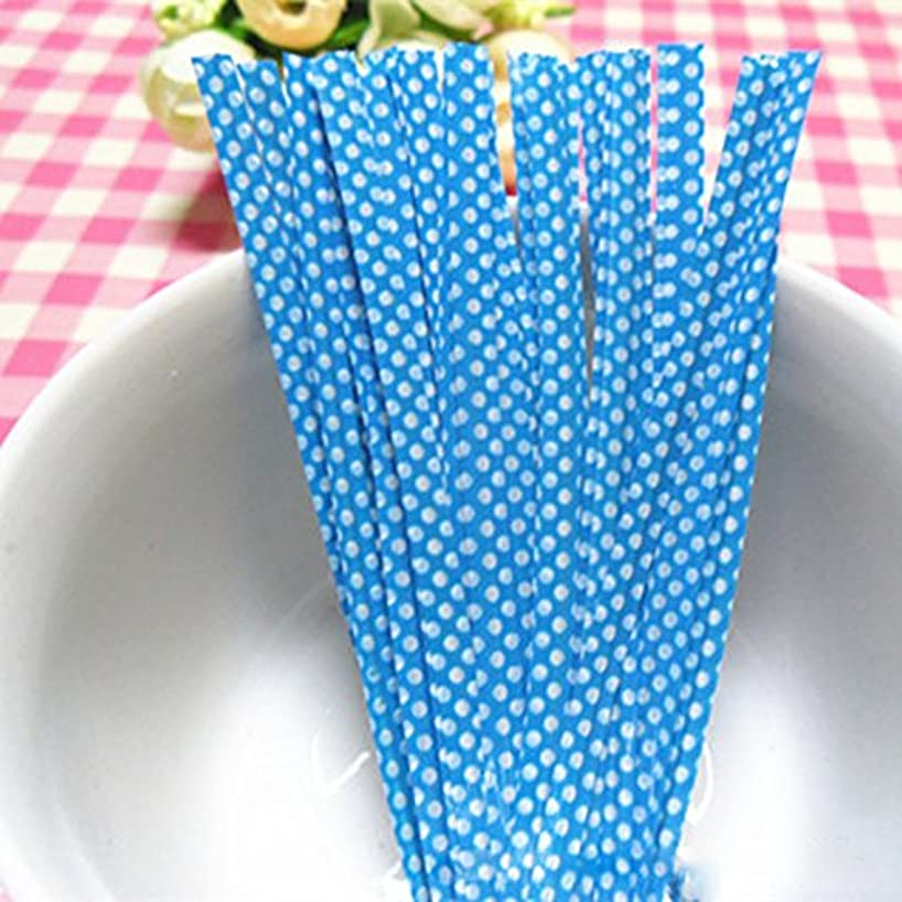 YEJI 500 Pcs Blue Plastic Dots Pattern Home Candy Gift Bags Packaging Twist Ties for any occasion
