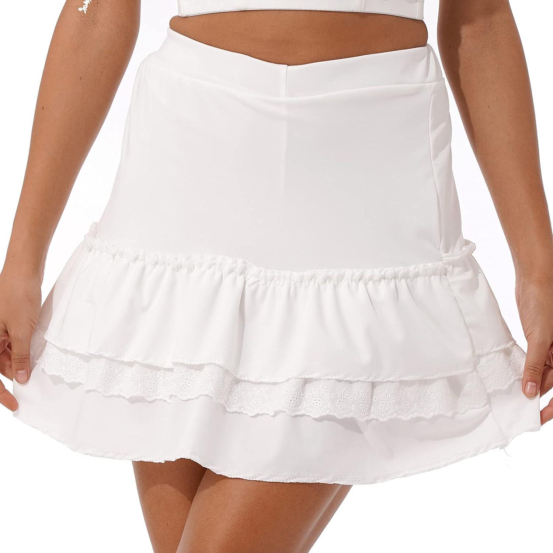 JanJean Women Schoolgirl Casual High Waist Lace Trimming Bodycon Ruffled Miniskirt A-line Flare Skirt