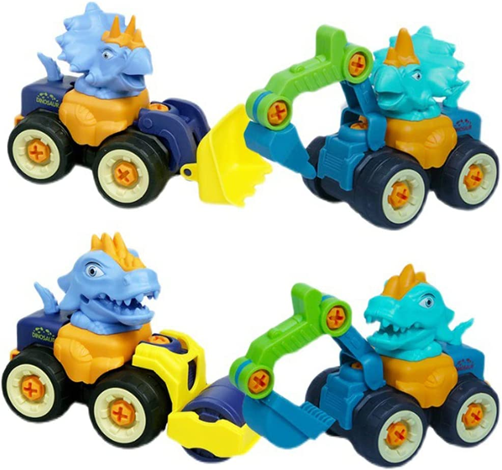 4 favorite Pack Dinosaur Toy Engineering Vehicle Quantity limited Pull Car Back F