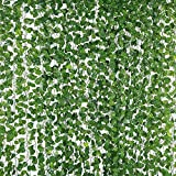 New rui cheng Planta Artificial Lvy Garland Vine Plantas Colgantes Hoja Falsa Lvy Follaje Artificial Vines Garland 12 Pack Set Plantas de Plástico de Hojas Verdes Para Decor de Pared de Boda de Jardín