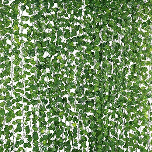New rui cheng Efeu künstlicher Künstlich Reben Blätter 12 Stück Kunstpflanzen Hängepflanzen 25.2M 840-960 Blätter Pflanzen Girlande Efeuranken Grün Gefälschte Plastik Pflanze Garten Hochzeit Wanddekor