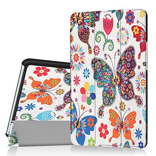 Yobby Hülle für Huawei MediaPad M3 8.4,Superdünn Leder Tasche Folio Stand Schutzhülle [Eckenschutz] Auto Schlaf/Wach Funktion für Huawei MediaPad M3 8.4-Schmetterling