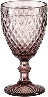 Wine Glass, Colored Glass Goblet, 6oz/10oz Vintage Pattern Embossed High Clear Glass Goblets for Party, Wedding,Diamond/Purple / 10oz