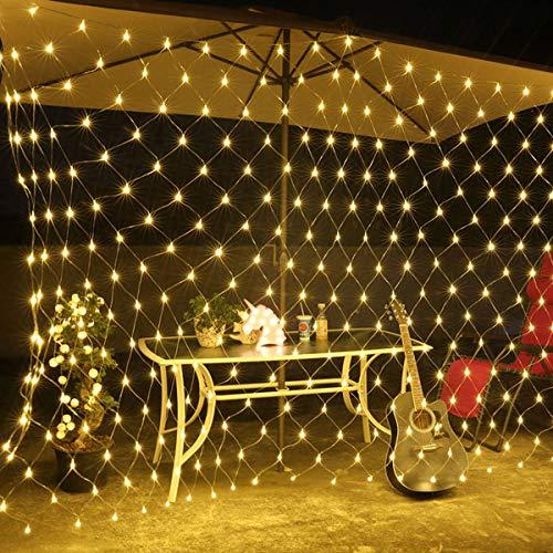 Uonlytech Solar String Light, Solar Net Mesh String Lights, Outdoor String Light for Garden Yard Patio Party (200 LED,Warm Light)