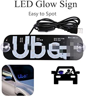 Rideshare LED Sign with Bright Lights,LED Glow Sign Light on Car Window with DC12V Car Charger (Blue) Make Your Car Visible