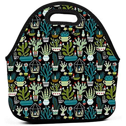 Voedsel Container Tote voor Vrouwen Mannen - Draagbare Geïsoleerde Picnic Bento Handtassen voor Werk Outdoor Travel - Gnomes Succulenten Cacti Terrarium