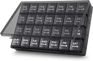 Large Monthly Pill Organizer 28 Day Pill Box Organizerd by Week, TookMag Large 4 Weeks One Month Pill Cases with Dust-Proof Box for Pills/Vitamin/Fish Oil/Supplements