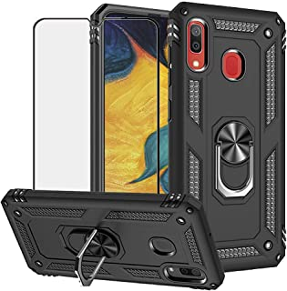 BestShare for Samsung Galaxy A20 Case & Tempered Glass Screen Protector, Rugged Hybrid Armor Anti-Scratch Shockproof Kickstand Cover Compatible Magnetic Car Mount Ring Grip, Black