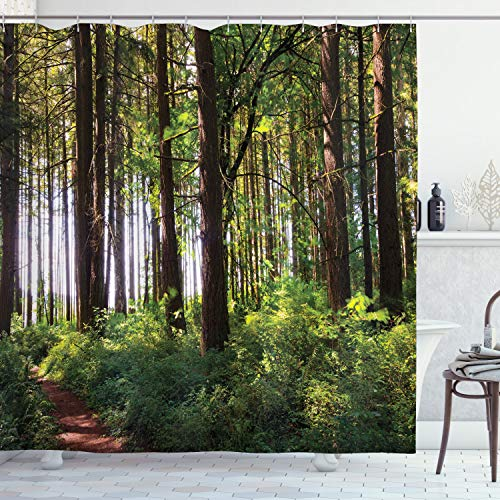 """Ambesonne Forest Shower Curtain, Pathway in a Shady Forest of Bushes and Thick Trunks Grass Unique Wild Life Scenery, Cloth Fabric Bathroom Decor Set with Hooks, 84"""" Long Extra, Green Brown"""