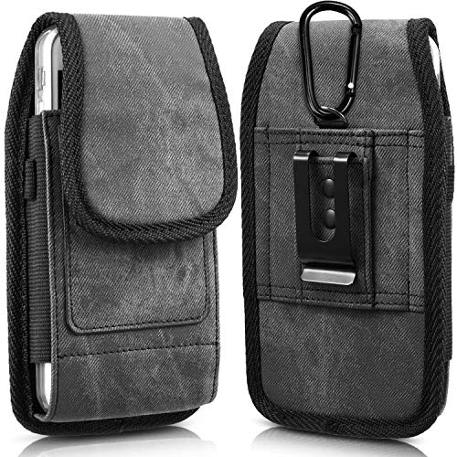 iNNEXT Universal Pouch Holster for iPhone 8 7 Plus, Denim Vertical Belt Clip & Loop Carrying Case for iPhone Xs Max/XR (Fit iPhone with Thin Hard Case) - Built-in 2 Card Slots - Removable Metal Hook