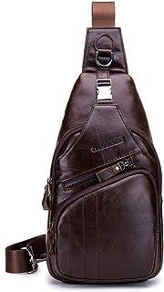 NOB105 Mochila de Pecho de Hombre en Piel Genuina Bolso de Hombro Cuero, 18x33cm, Apto para 7.9'' iPad Mini - Marrón