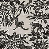 Naturfarbener Stoff mit Affen in Bäumen von Stof France