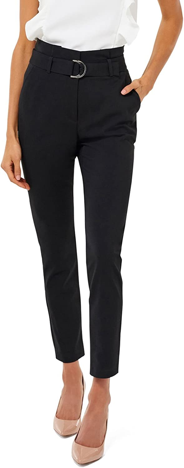 Ever New Womens Talia Tapered Paper Bag Pants